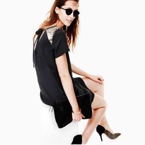 Madewell black dress with gold sequin sleeves